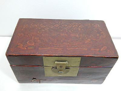 Antique Japanese Edo Period Lacquer Painted Tea Caddie Lock Box