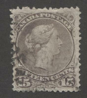 Canada #29a 15c Greyish Purple 1874 Large Queen Issue Perf 11.5 x 12 VG-60 Used