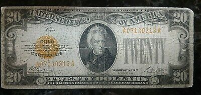 1928 Circulated Twenty Dollar $20 Gold Certificate