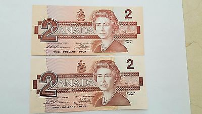 Two 1986 $2 Canadian Bills