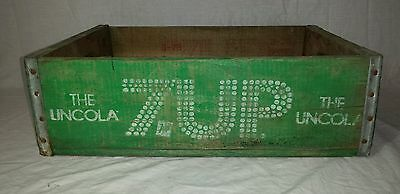 7-UP THE UNCOLA green wood box crate Vintage Wood Soda Advertising Art Lot 1