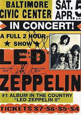 Authentic Rare Signed Led Zeppelin 12 X 8 Tour Photo...real Signatures..coa..