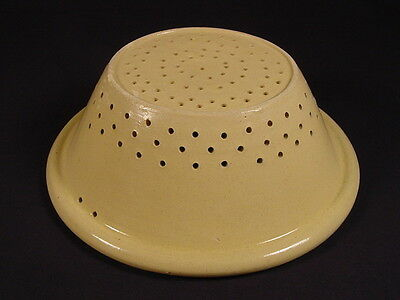 VERY RARE 1800s LARGE MILK PAN COLANDER YELLOW WARE