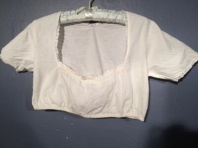 Vintage German Austrian White Crop Dirndl Blouse M As Is