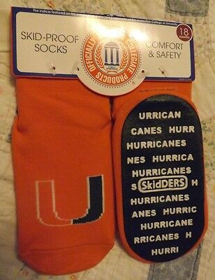 Skidders University of Miami Skid Proof Socks with Grippers Size 18 Months