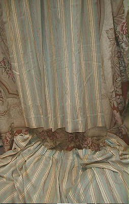 2 Antique French Ticking Stripe Drapes,Chateau Find,Linen Cotton,Sage & Butter
