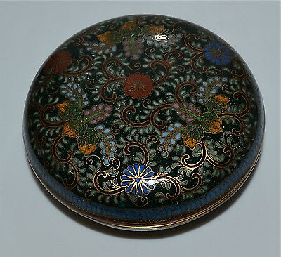 Antique Japanese Black-Ground Circular Cloisonne Box Meiji