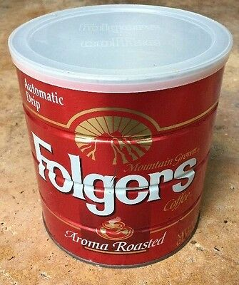 L@@K 1993 Folgers Coffee Can Full Of COFFEE