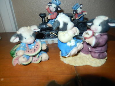 Lot of 4 Enesco Mary's Moo Moos figurine pieces:  Marriage Proposal/train/plant/