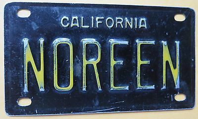 Vintage Personalized CALIFORNIA NOREEN Mini Bike Vanity Name License Plate