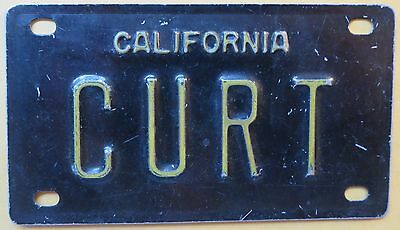 Vintage Personalized CALIFORNIA CURT Mini Bike Vanity Name License Plate