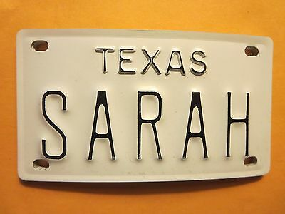 Vintage Personalized TEXAS SARAH Mini Bike Vanity Name License Plate Sign