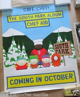 South Park 1998 Original Promo Comedy Central Poster SAVE CHEF! Kenny Chef Aid