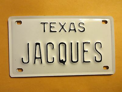 Vintage Personalized TEXAS JACQUES Mini Bike Vanity Name License Plate Sign