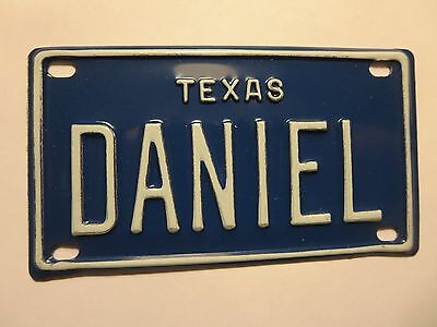 Vintage Personalized Texas DANIEL Mini Bike Vanity Name License Plate Sign