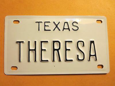 Vintage Personalized TEXAS THERESA Mini Bike Vanity Name License Plate Sign