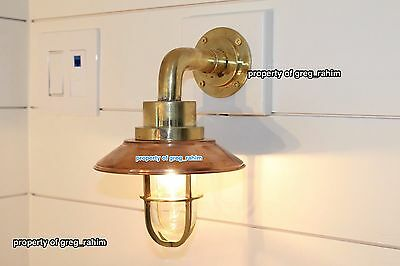 Vintage Nautical Brass Ship Bulkhead Light With Copper Shade - Wired W/bulb Incl