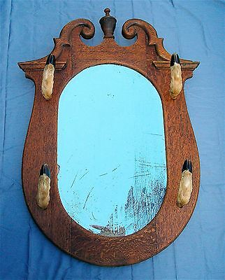 Victorian Oak Mirror with Deer Hooves