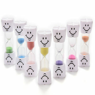 Multicolor 2-3 Minute Hourglass Toothbrush Timer Smiley Sand Egg Timer Gift EA