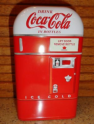 Coca-Cola Vending Machine Tin Box 6 1/2 x 4 x 2 1/2 Rounded Top Red/White New