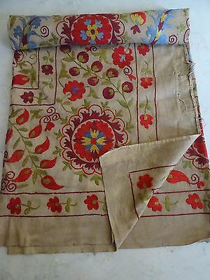 Suzani Hand Embroidered Quilt Twin Bedding Vintage Blanket Bohemian Throw 1316