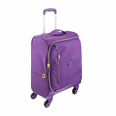Delsey Luggage 18 Inch Foldable International Carry On Spinner Trolley Purple...