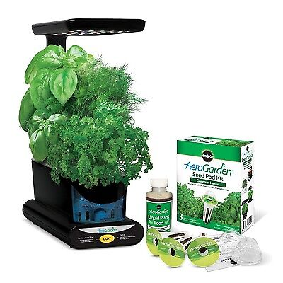 Miracle-Gro AeroGarden Sprout LED with Gourmet Herb Seed Pod Kit Black