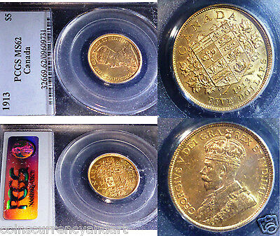 1913 Gold Canada $5 . King George  Pcgs Ms62