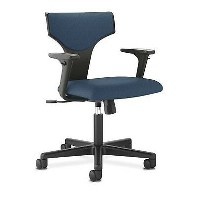 Basyx by HON T-shaped Back Task Chair w/Arm-Polyester Navy Seat-Polyester Bla...