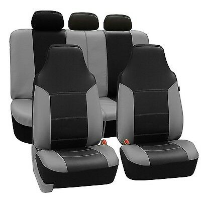 FH Group Universal Fit Full Set High Back Royal Seat Cover - PU Leather (Gray...