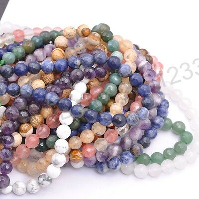 Wholesale Natural Gemstone FACETED Round Spacer Loose Beads 6MM 8MM 10MM