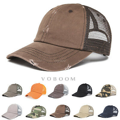 VOBOOM Vintage Distressed Mesh Trucker Baseball Cap Snapback Outdoor Sports Hat