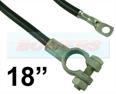 """18"""" 450mm CAR BATTERY BLACK EARTH EARTHING NEGATIVE LEAD CABLE STRAP + TERMINAL"""