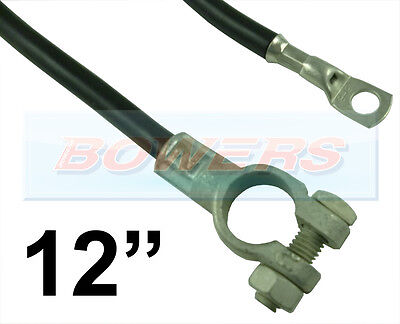 "12"" 300mm CAR BATTERY BLACK EARTH EARTHING NEGATIVE LEAD CABLE STRAP + TERMINAL"