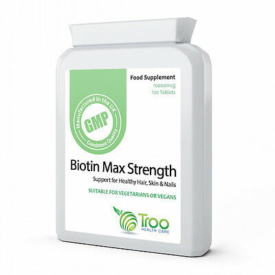 Biotin 10000 mcg Maximum Strength 120 Tablets for Strong healthy Hair,Skin &Nail