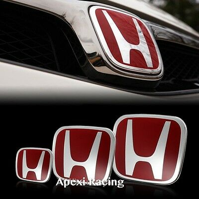 Jdm 3Pcs Red H Front + Rear + Steering Emblem For Civic Si 2Dr Coupe 2012-2013