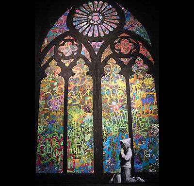 Banksy Church Window Graffiti Poster A4 A3 A2 A1 Gift Present OC0137