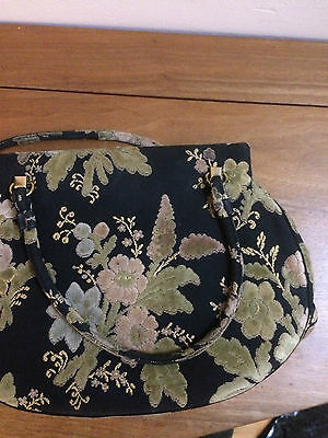 Vintage Authentic Lewis Crown Floral Tapestry Handbag - 1950s?
