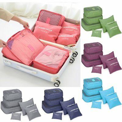 6Pcs Waterproof Travel Storage Bags Clothes Packing Cube Luggage Organizer PouBK