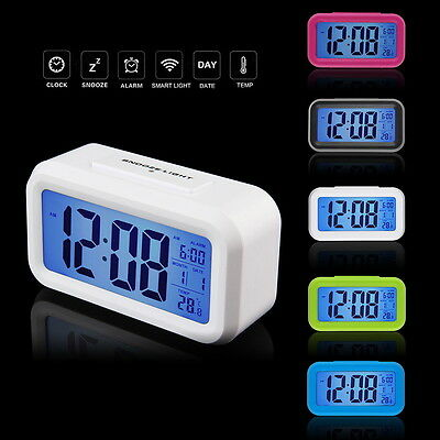 Digital Alarm Clock LCD LED Light Snooze Backlight Digit Time Date ThermometerBK