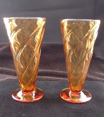 A PAIR OF1930s THOMAS WEBB AMBER GLASS VASES IN FINE CONDITION