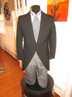 Mens Vintage Victorian Black Cutaway Tuxedo & Ascot Included Size 35S