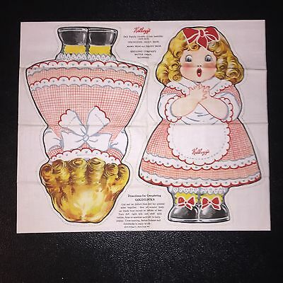 1925 Kellogg's Uncut Goldilocks Ad Doll - Mint