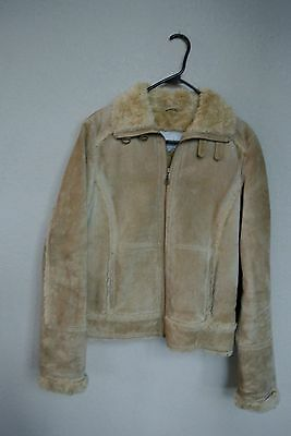 WILSONS LEATHER Suede Leather/Faux Fur Beige Jacket Coat Size S womens
