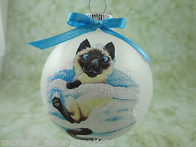 C003 Hand-made Christmas Ornament cat - Siamese - Seal point cute snow kitten