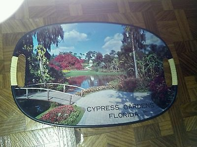 Vintage Double Handled Cypress Gardens Florida Souvenir Serving Tray Japan