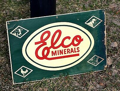 Vintage Elco Minerals Farm Animal Feeds Supplements Sign - Elco Illinois