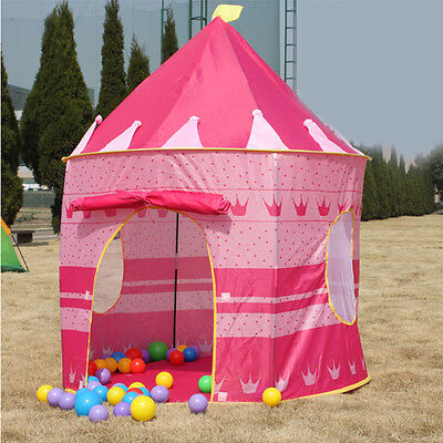 Portable Childrens Pink Play Tent Castle Cubby Play House