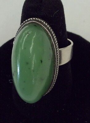 Vintage Signed Russian 835 Sterling Chrysoprase Apple Jade Green Ring Size 8 1/4
