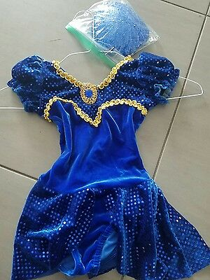 costume gallery blue dance leotard  gold trims with cap child small